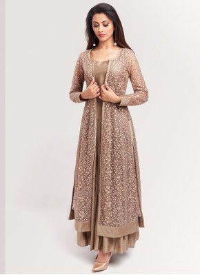 Designer Net Sequins Work Brown Bollywood Style Salwar Kameez