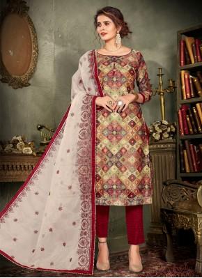 Designer Pakistani Salwar Suit Embroidered Chanderi in Multi Colour