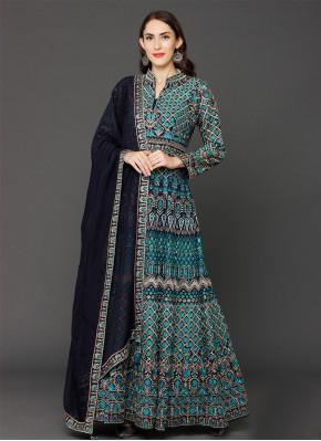 Designer Pakistani Salwar Suit Embroidered Georgette in Blue