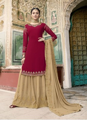 Designer Pakistani Suit Embroidered Faux Georgette in Rani