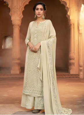 Designer Pakistani Suit Embroidered Georgette in Off White