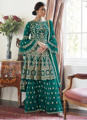 Designer Palazzo Salwar Suit Embroidered Net in Teal