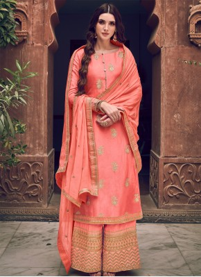 Designer Palazzo Salwar Suit Embroidered Silk in Peach