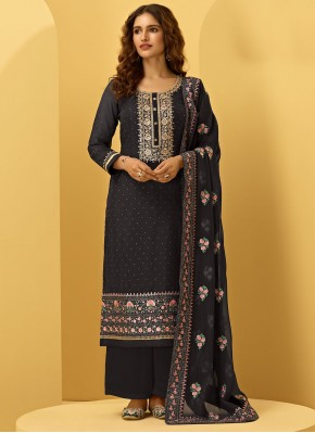 Designer Palazzo Suit Embroidered Faux Georgette in Black