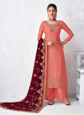 Designer Palazzo Suit Embroidered Faux Georgette in Rose Pink