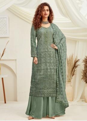 Designer Palazzo Suit Sequins Viscose in Green