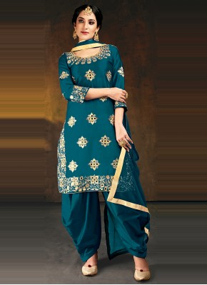 Designer Patiala Suit Embroidered Silk in Blue