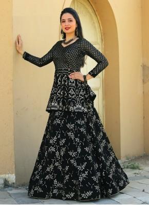 Designer Readymade Lehngha Choli in Black