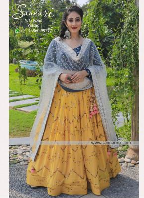 Designer Sangeet & Festive Function Wear Fancy Mustard color Chiffon Chaniya Choli