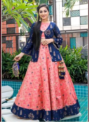 Designer Sangeet & Festive Function Wear Fancy Silk  Chaniya Choli with Long Jacket