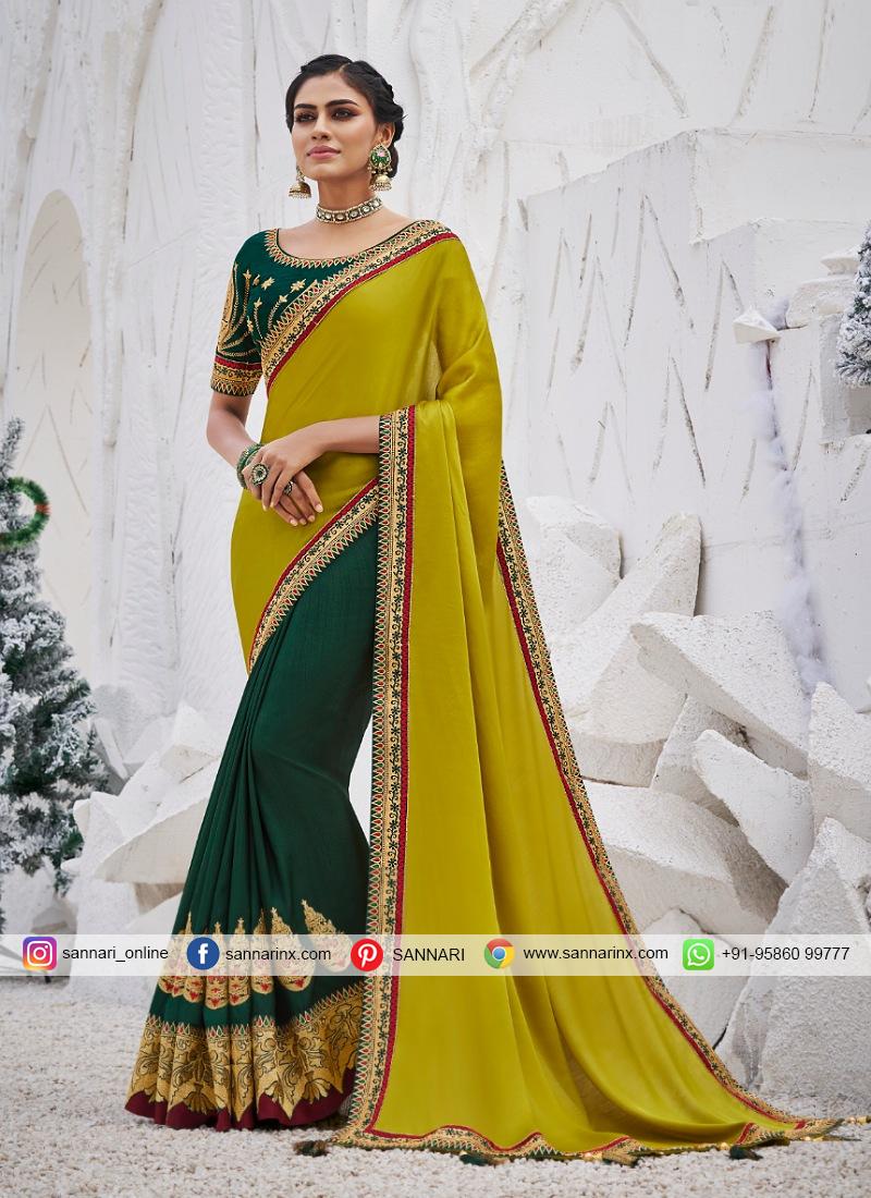 Brilliant fancy Designer Half and Half Saree in Silk.