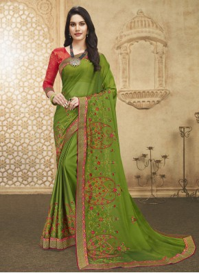 Designer Saree Embroidered Fancy Fabric in Green