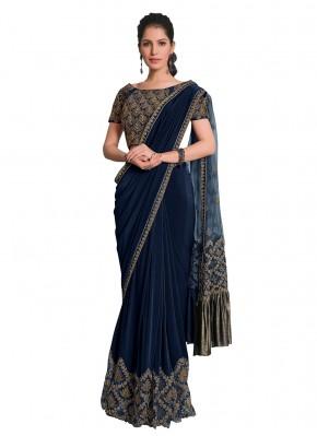 Designer Saree Embroidered Lycra in Blue
