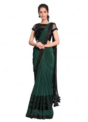 Designer Saree Embroidered Lycra in Green