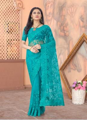 Designer Saree Embroidered Net in Firozi