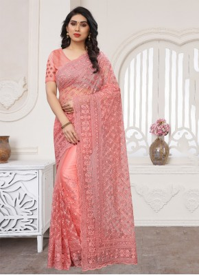 Designer Saree Embroidered Net in Pink