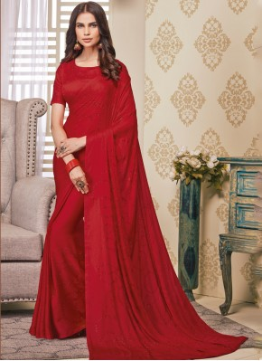 Designer Saree Embroidered Satin in Red