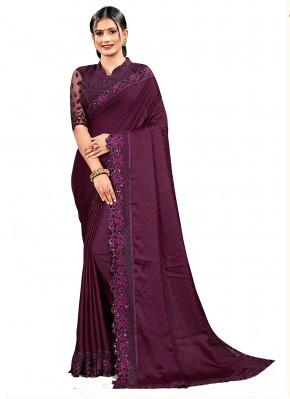 Designer Saree Embroidered Satin Silk in Wine