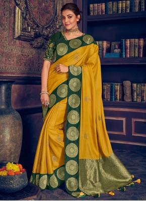 Designer Saree Embroidered Silk in Yellow