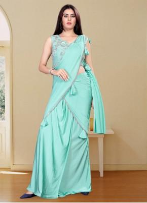 Designer Saree Handwork Lycra in Turquoise