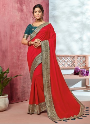 Designer Saree Patch Border Fancy Fabric in Red