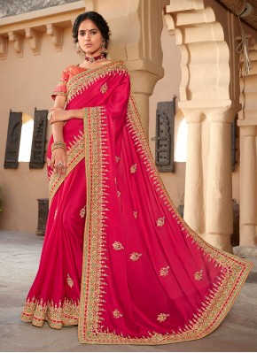 Designer Saree Patch Border Silk in Hot Pink