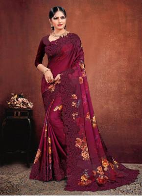 Designer Saree Resham Georgette Satin in Pink