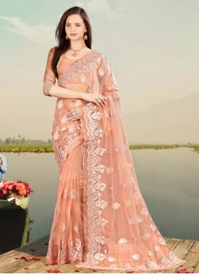Designer Saree Resham Net in Peach