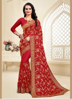 Designer Saree Resham Satin Silk in Red