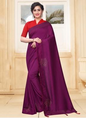 Designer Saree Stone Silk in Purple