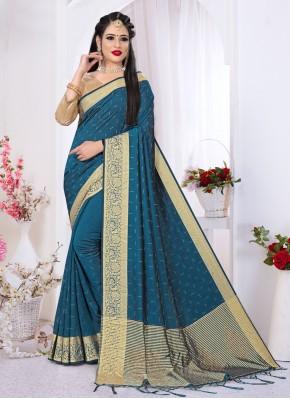 Designer Saree Swarovski Art Silk in Blue
