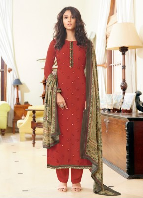 Designer Straight Suit Embroidered Muslin in Rust