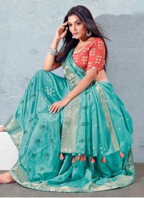 Designer Traditional Saree Fancy Silk in Aqua Blue
