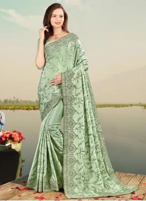 Designer Traditional Saree Patch Border Faux Chiffon in Sea Green