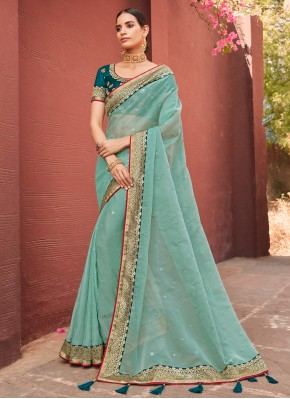 Designer Traditional Saree Patch Border Organza in Aqua Blue