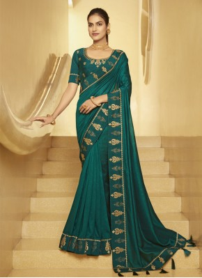 Designer Traditional Saree Patch Border Silk in Teal