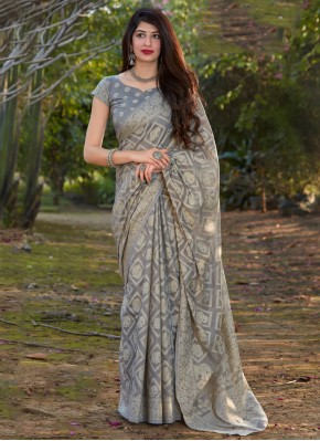 Designer Traditional Saree Printed Silk in Grey