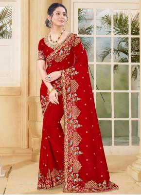 Designer Traditional Saree Resham Vichitra Silk in Red