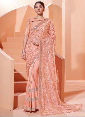 Designer Traditional Saree Sequins Lycra in Peach
