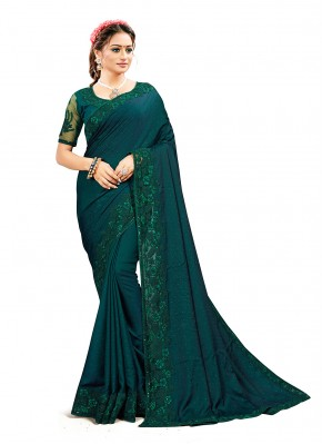 Designer Traditional Saree Sequins Satin Silk in Green