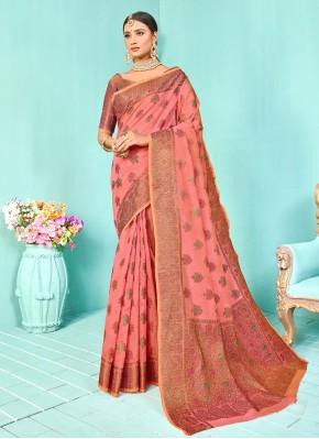 Designer Traditional Saree Weaving Silk in Pink