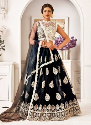 Desirable Black Embroidered Lehenga Choli