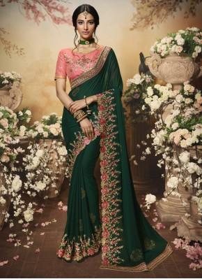 Desirable Green Embroidered Classic Designer Saree