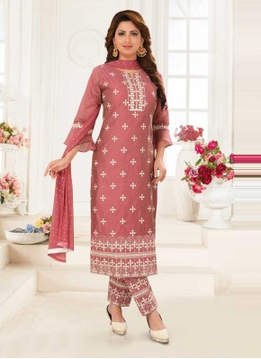 Desirable Pink Embroidered Readymade Suit