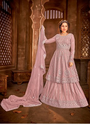 Desirable Pink Sangeet Long Choli Lehenga