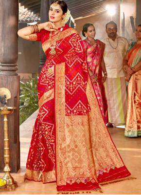 Desirable Silk Weaving Red Classic Saree