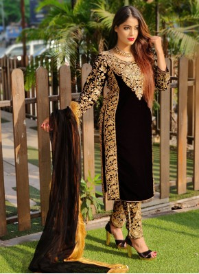 Desirable Stone Work Black Pant Style Suit