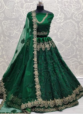 Diamond Net Lehenga Choli in Green