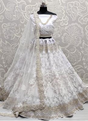 Diamond Net Lehenga Choli in Off White
