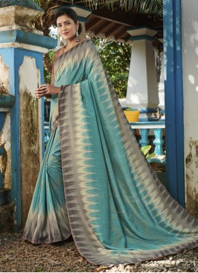 Digital Print Silk Designer Saree in Teal